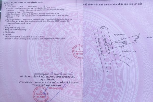 sổ hồng nhà phương phú mỹ đường dx 014